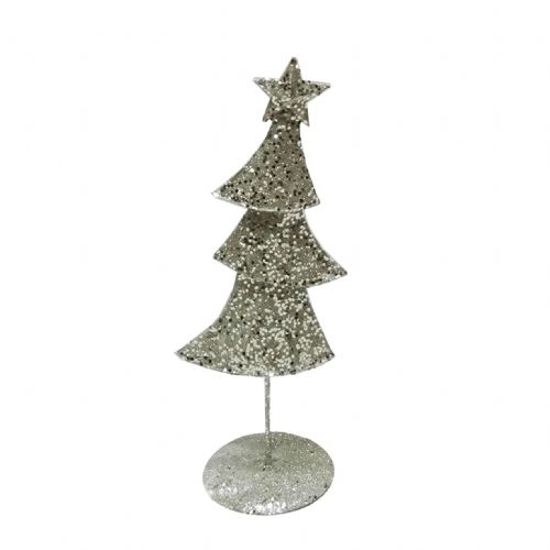 Metal Contemporary Christmas Ornament Champagne Silver Christmas Tree